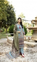 3.1 meters printed Kotail linen Shirt  2.5 meter printed woolen shawl  2.5 meter linen trouser  embroidered border organza patch