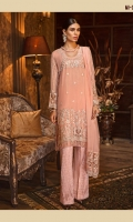 CHIFFON EMBROIDERED FRONT CHIFFON EMBROIDERED BACK CHIFFON EMBROIDERED SLEEVES EMBROIDERED HAND EMBELLISHED NECKLINE EMBROIDERED HAND EMBELLISHED BORDER FOR FRONT ORGANZA EMBROIDERED BORDER FOR BACK ORGANZA EMBROIDERED BORDER FOR SLEEVES CHIFFON EMBROIDERED DUPATTA ORGANZA EMBROIDERED PALLU JAMAWAR TROUSER