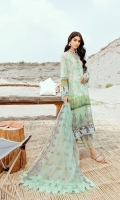 Shirt: 3 meter digital printed lawn Dupatta: 2.5 meter embroidery on Net Trouser: 2.5 meter Lawn Front Patch: 1 meter embroidery on organza Trouser patch: 1-meter embroidery on organza