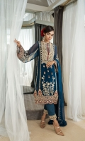 CHIFFON EMBROIDERED FRONT (CENTER PANEL) 0.25 YARD CHIFFON EMBROIDERED FRONT (SIDE PANELS) 2 PCS CHIFFON EMBROIDERED BACK (CENTER PANEL) 0.25 YARD CHIFFON EMBROIDERED BACK (SIDE PANELS) 2 PCS CHIFFON EMBROIDERED SLEEVES 0.75 YARD CHIFFON EMBROIDERED DUPATTA 2.75 YARD DYED RAW SILK TROUSER 2.5 YARD  ACCESSORIES EMBROIDERED ORGANZA BORDER 3.5 YARD