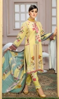 Printed Linen Embroidered Front  Printed Linen Back And Sleeves  Printed Chiffon Dupatta  Dyed linen Trouser