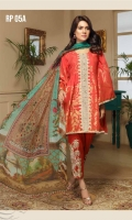 03 pcs unstitched embroidered Lawn with printed and embroidered Chiffon / Silk / Jacquard dupatta