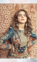 Embroidered front on digital printed slub lawn  Digital printed back on slub lawn  Embroidered sleeves on digital printed slub lawn  Embroidered borders on organza  Digital printed trouser  Screen printed silk dupatta with embroidered borders