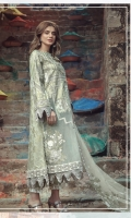 Embroidered front on screen printed slub lawn  Screen printed back on slub lawn  Embroidered sleeves on screen printed slub lawn  Embroidered border on organza  Screen printed trouser  Embroidered dyed organza dupatta  Embroidered pallu patch on organza
