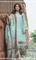Embroidered front on dyed slub lawn  Embroidered back on dyed slub lawn  Embroidered sleeves on dyed slub lawn  Embroidered border on organza  Digital printed trouser with embroidered border  Digital printed dupatta