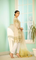 """Embroidered Front: 0.87 yard  Embroidered Back: 1 yard  Plain Sleeves: 0.75 yard  Embroidered Front Back Lace: 62""""  Embroidered Sleeves Lace: 36""""  Embroidered Sleeves Lace 2: 36""""  3 Toned Dyed Organza Dupatta  Plain Dyed trouser: 2.5 yard"""
