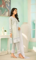 """Embroidered Front & Back: 1.75 yards  Embroidered 2' wide Front Back Patti  Plain Sleeves: 0.75 yard  Embroidered Dupatta: 2.5 yard  Embroidered Sleeves Patch: 2 pcs  Embroidered Front & Back Lace: 62""""  Embroidered Neckline: 1 pc  Embroidered Dupatta Pallu Lace: 74""""  Plain Dyed trouser: 2.5 yard"""