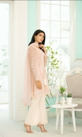"""Embroidered Side Panels  Plain Dyed Organza: 1 yard  Embroidered Organza Sleeves: 0.75 yard  Embroidered Back: 1 yard  Embroidered Chiffon Dupatta: 2.5 yard  Embroidered Front & Back Lace: 62""""  Embroidered Front Panel Lace: 86""""  Plain Dyed trouser: 2.5 yard"""
