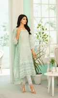 """Embroidered Front & Back: 2 yards  Embroidered Sleeves: 0.75 yard  Embroidered Neckline: 1 pc  Embroidered Sleeves Motifz: 2 pc  Embroidered Front Lace: 30""""  Embroidered Sleeves Lace: 36""""  Embroidered Neckline Lace: 36""""  Embroidered Front Panel Lace: 50""""  Embroidered Dupatta Pallu Lace: 75""""  Embroidered Dupatta Lace: 175""""  Plain Dyed Jacquard Dupatta  Plain Dyed trouser: 2.5 yard"""