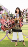 Digitally Printed Pure Silk Dupatta Digitally Printed Front, Back & Sleeves Plain Trouser Embroidered Border Embroidered Patch