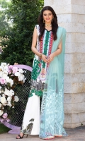Embroidered Cotton Net Dupatta Digitally Printed Front, Back & Sleeves Digitally Printed Lawn Trouser Embroidered Border Embroidered Patch