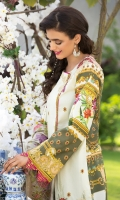 Embroidered Cotton Net Dupatta Digitally Printed Front, Back & Sleeves Digitally Printed Lawn Trouser 2 Embroidered Borders