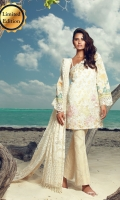Digital print front, back and sleeves  Embroidered and embellished dupata  Jacquard trousers  Embroidered hem border  Embroidered finishing  Embroidered sleeve border