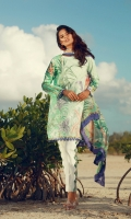 Digital print embroidered front  Digital print back and sleeves  Digital print pure chiffon dupata  Dyed trousers  Embroidered trouser finishing
