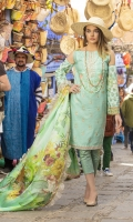 - Embroidered Jacquard front  - Printed back and sleeves - Printed medium silk dupatta - Embroidered borders   - Dyed Trouser