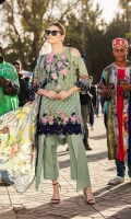 - Printed front, back, and sleeves - Printed pure chiffon dupatta - 1 embroidered border - Embroidered neckline  - Dyed trouser