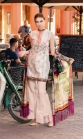 - Embroidered jacquard front - Printed back and sleeves - Printed medium silk dupatta - Embroidered border - Dyed trouser
