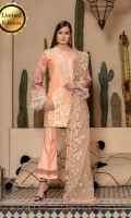 - Embroidered front - Printed back and sleeves - Embroidered net dupatta, hand beaded with cutwork - Embroidered border - Dyed trouser