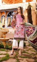 - Fully embroidered printed front - Printed back and sleeves  - Printed medium silk dupatta - 1 embroidered border - 1 embroidered patch - Dyed trouser