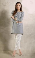 Denim tunic along with metal zips with beautiful vibrant embroidery on sleeves and neckline.