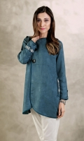 Suede contemporary jacket styled tunic along with side pockets and silk finishing. Round neck with wooden buttons and embroidery on shoulders, pockets and sleeve flaps.