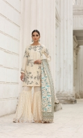 Pure embroidered raw silk shirt with adda work and embellishment  Charmeuse silk block print dupatta