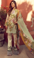 Digital print embroidered front  Digital print back and sleeves  Printed trousers  Digital print pure chiffon dupata  Two embroidered trouser patches