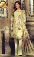 Digital print embroidered front  Digital print back and sleeves  Jacquard dyed trousers  Embroidered border for hem and sleeves  Embroidered dupata  Adorments