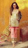 Digital print embroidered front   Digital print back and sleeves  Digital print pure chiffon dupata  Dyed trousers  Embroidered neckline  Embroidered trouse finishing