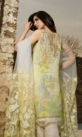 3 Piece Lawn Suit,1.25 Meter Front,1.25 Meter Back Shirt,0.75 M Sleeves,Embroidered Neckline,2.5 Meter Embroidered Net Dupatta,2.5 Meter Jacquard Trouser