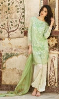 3 Piece Lawn Suit,1.25 Meter Front,1.25 Meter Back Shirt,0.75 M Sleeves,Emb Sleeves Border,2.5 Meter Pure Silk Dupatta,Emb Neck,2.5 Meter Printed Trouser