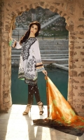3 Piece Lawn Suit,1.25 Meter Front,1.25 Meter Back Shirt,0.75 M Sleeves,Emb Neck,2.5 Meter Pure Silk Dupatta,Emb Border,2.5 Meter Embroidered Trouser