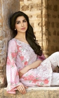 3 Piece Lawn Suit,1.25 Meter Front,1.25 Meter Back Shirt,0.75 M Sleeves,Embroidered Neckline,Emb Front Border,2.5 Meter Pure Silk Dupatta,Trouser Lace,2.5 Meter Trouser