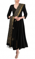 SOLID BLACK LONG FLARED ANARKALI WITH PAJAMA AND DUPATTA