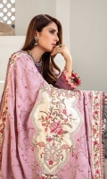 Front: Embroidered khaddar Back: Dyed khaddar Sleeves: Embroidered Khaddar Pants: Dyed khaddar Dupatta: Embroidered linen shawl Embroideries: 1) Neckline 2) Ghera border 3) Sleeves patti 4) Shawl side patti 5) Shawl center patch 6) Shawl corner patches (4)