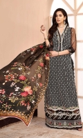Front: Embroidered net Back: Embroidered net Sleeves: Embroidered net Pants: Dyed cambric Dupatta: Digital printed silk Embroideries: 1) Daman border 2) Sleeve border 3) Neckline patti