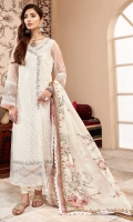 Front: Embroidered net Back: Embroidered net Sleeves: Embroidered net Pants: Dyed cambric Dupatta: Digital printed silk Embroideries: 1) Daman border 2) Sleeve border 3) Neckline patti.
