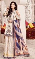 Front: Embroidered cotton net center panel and side panels Back: Dyed cotton net Sleeves: Dyed cotton net Pants: Printed Gharara Dupatta: Digital printed organza Embroideries: 1) Silk neckline 2) Silk ghera border 3) Silk sleeve border