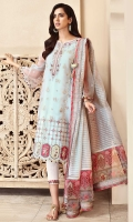 Front: Embroidered organza center panel and side panels Back: Dyed organza Sleeves: Embroidered organza Pants: Printed cambric Dupatta: Embroidered staple woven cotton dhaari with printed borders Embroideries: 1) Daman geometrical border 2) Daman scalp border 3) Pink silk patches for daman (5) 4) green silk patches for daman (5) 5) Silk border Patti 6) Organza scallop border for sleeves
