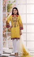 Shirt Front 1.25 Mtr Emb Shirt Back + Sleeves 1.75 Mtr Fancy Net Dupatta 2.5 Mtr Trouser 2.5 Mtr