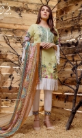 Three pcs digital printed & embroidered Cambric with printed & embroidered Lawn, Chiffon, Net, Silk dupatta