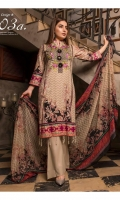 03 pcs embroidered Cotton with printed Lawn and Chiffon dupatta