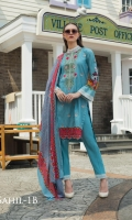 Shirt: - Embroidered Cambric Cotton Dupatta / Shawl: - Printed Lawn Dupatta Trouser: - Dyed Cambric