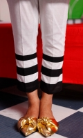 Straight lawn pencil pants with black lawn stripes.