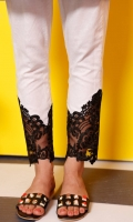Pencil pants in lawn with black organza embroidered lace.