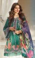 EMBROIDERED LAWN FRONT : 1.25 MTR DYED LAWN BACK : 1.25 MTR EMBROIDERED DYED LAWN SLEEVES : 1.25 MTR DYED CAMBRIC TROUSER : 2.5 MTR PRINTED CHIFFON DUPATTA : 2.5 MTR ACCESSORIES EMBROIDERED LAWN BORDER : 1 MTR EMBROIDERED ORGANZA MOTIFS : 2 PCS