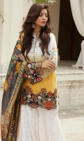 EMBROIDERED LAWN FRONT : 1.25 MTR EMBROIDERED SHIFLEE FRONT SIDE PANEL : 0.6 MTR PRINTED LAWN BACK : 1.25 MTR PRINTED LAWN SLEEVES : 0.65 MTR PRINTED CAMBRIC TROUSER : 2.5 MTR PRINTED CHIFFON DUPATTA : 2.5 MTR ACCESSORIES EMBROIDERED LAWN SHIRT BORDER : 1 MTR EMBROIDERED LAWN SLEEVE BORDER : 1 MTR