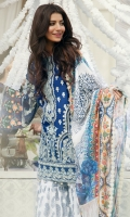 EMBROIDERED LAWN FRONT : 1.25 MTR EMBROIDERED LAWN BACK : 1.25 MTR EMBROIDERED CHIFFON SLEEVES : 0.65 MTR PRINTED CAMBRIC TROUSER : 2.5 MTR PRINTED CHIFFON DUPATTA : 2.5 MTR ACCESSORIES  EMBROIDERED ORGANZA BORDER : 1 MTR