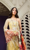 . Embroidered Net Front 1.25meters . Embroidered Net Back 1.25meters . Embroidered Net Sleeves 0.75meter . Jacquard Trouser 2.5meters . Digital PrintedZari Jacquard Dupatta 2.5meters  ACCESORIES  . Embroidered + Embellished Neckline for shirt 1 . Patchwork Border 1meter . Embroidered Organza Border For sleeves 1.25meters . Viscose silk lining for shirt 2.5meters