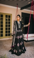 Black cotton peshwaz with embroidery on the front, back, sleeves and neckline in silk thread and gold tilla is paired with black cotton trousers and leheria dyed chiffon dupatta in grey and black.